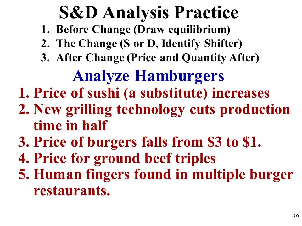 S&D Analysis Practice Analyze Hamburgers