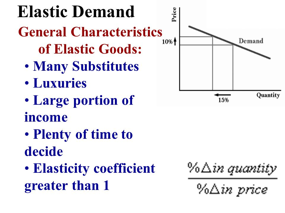 General Characteristics of Elastic Goods: