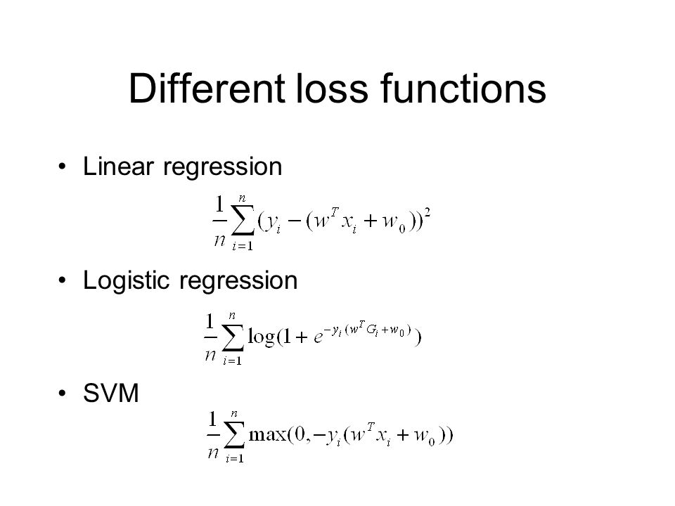 Different loss functions