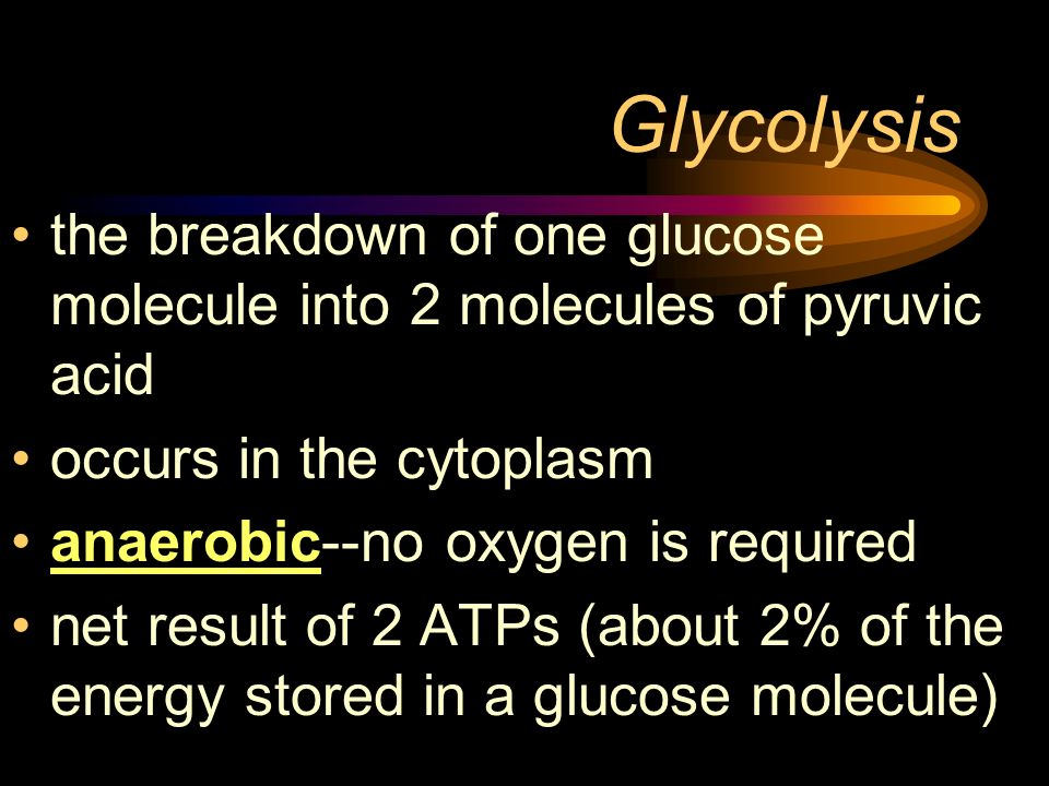 Glycolysis the breakdown of one glucose molecule into 2 molecules of pyruvic acid. occurs in the cytoplasm.