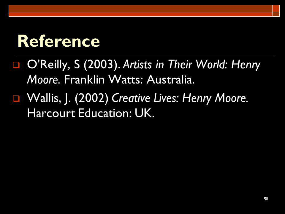 Reference O'Reilly, S (2003). Artists in Their World: Henry Moore. Franklin Watts: Australia.