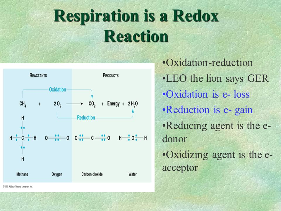 Respiration is a Redox Reaction