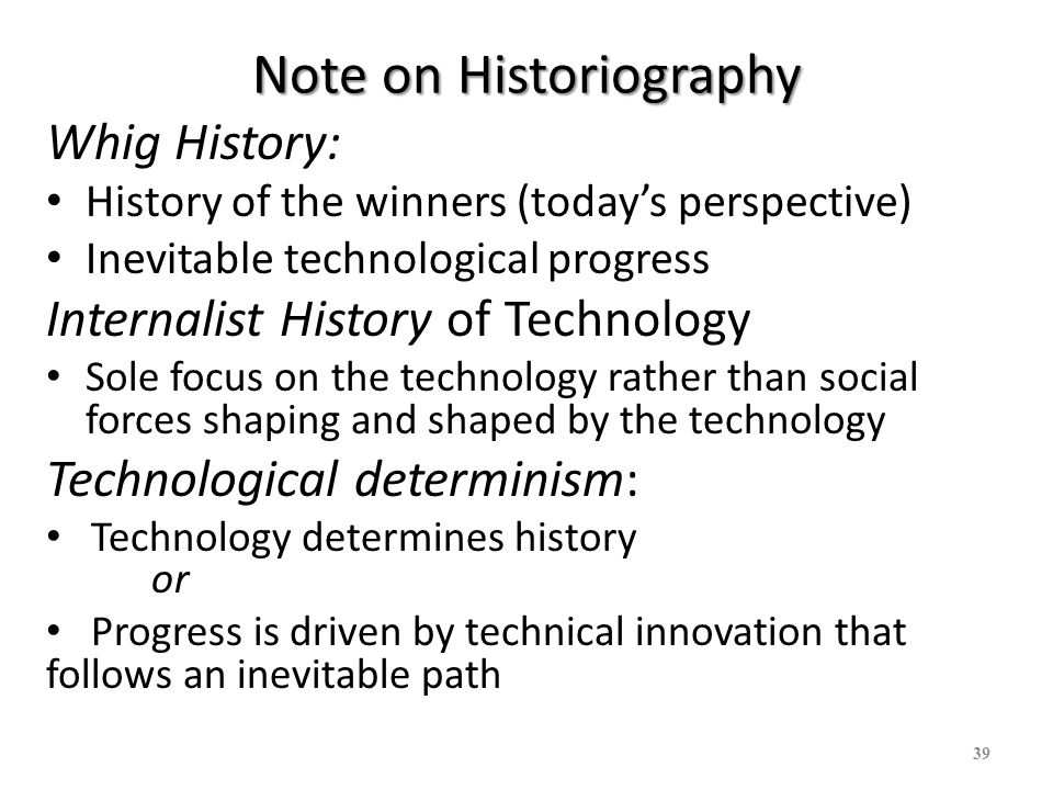 Note on Historiography