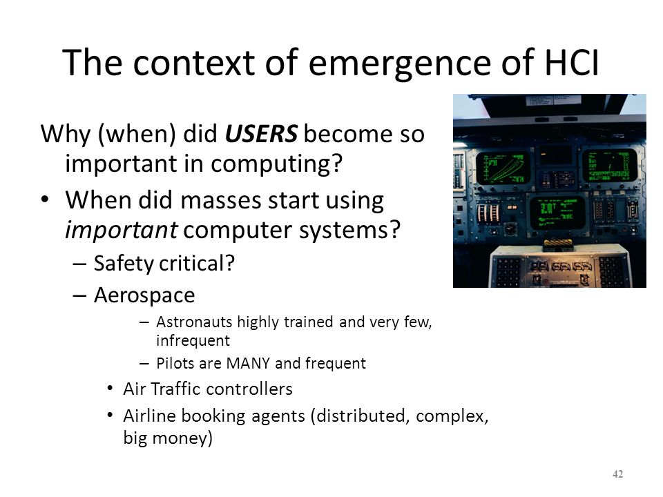 The context of emergence of HCI