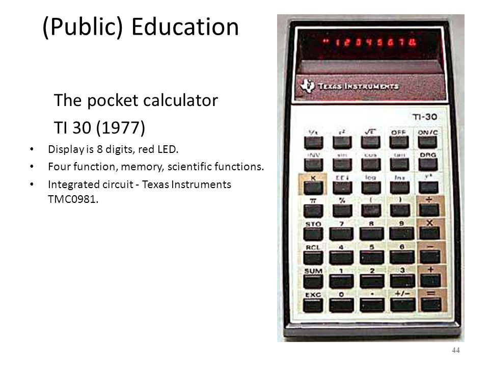 (Public) Education The pocket calculator TI 30 (1977)