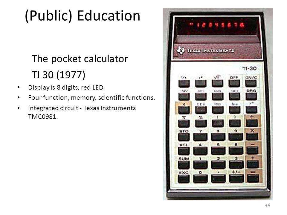 (Public) Education The pocket calculator TI 30 (1977)