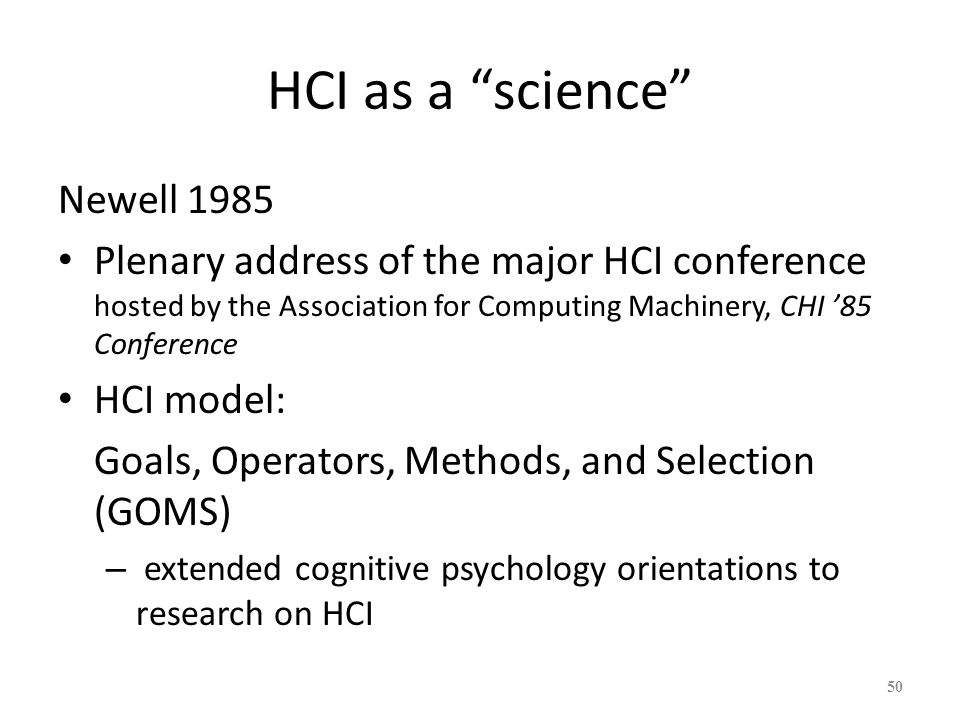 HCI as a science Newell 1985