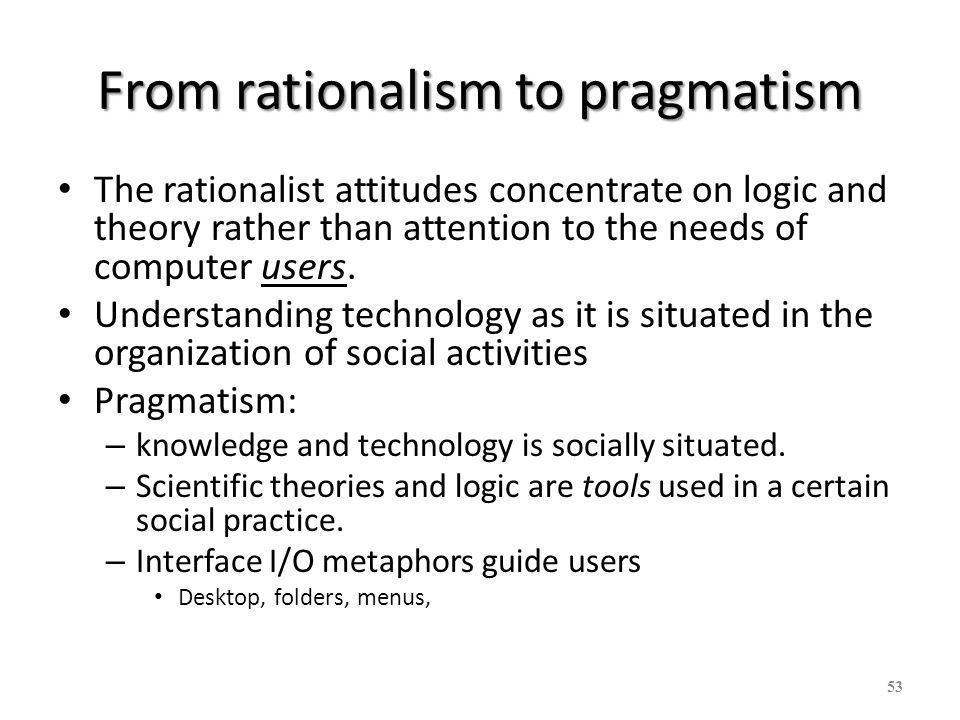 From rationalism to pragmatism