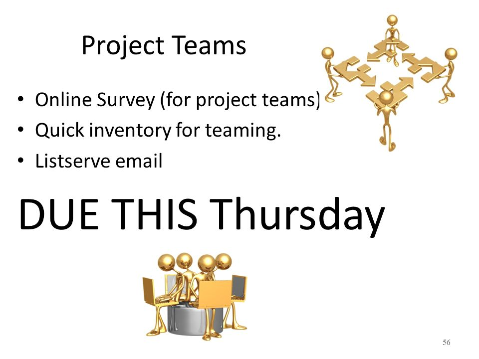 DUE THIS Thursday Project Teams Online Survey (for project teams)
