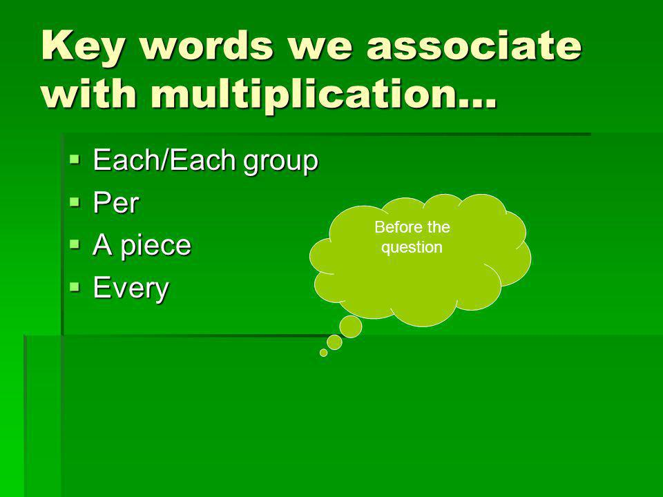 Key words we associate with multiplication…