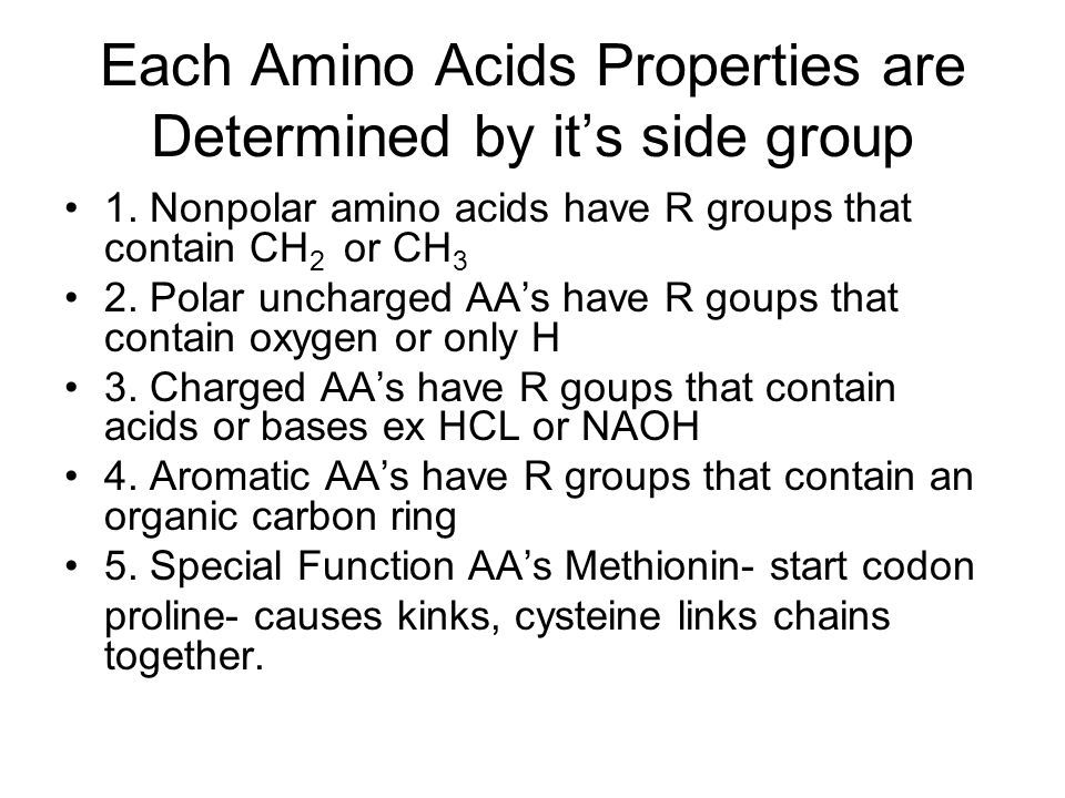 Each Amino Acids Properties are Determined by it's side group