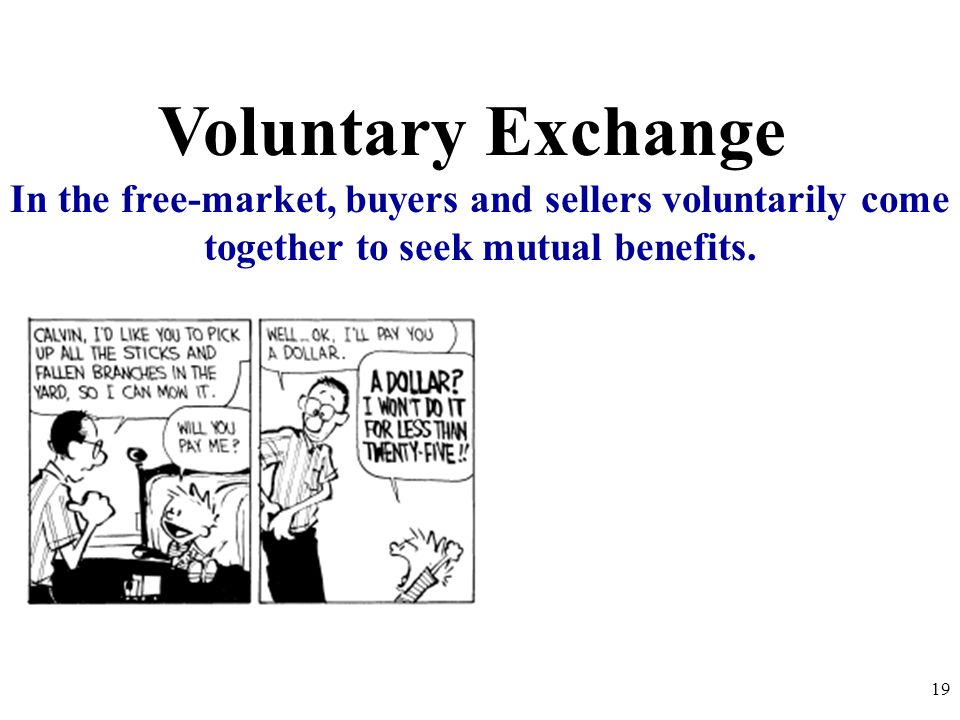 Voluntary ExchangeIn the free-market, buyers and sellers voluntarily come together to seek mutual benefits.