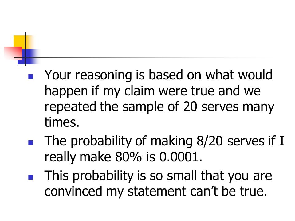 Your reasoning is based on what would happen if my claim were true and we repeated the sample of 20 serves many times.