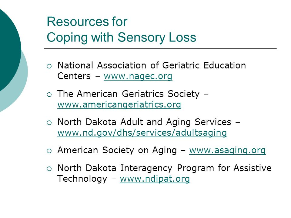 Resources for Coping with Sensory Loss