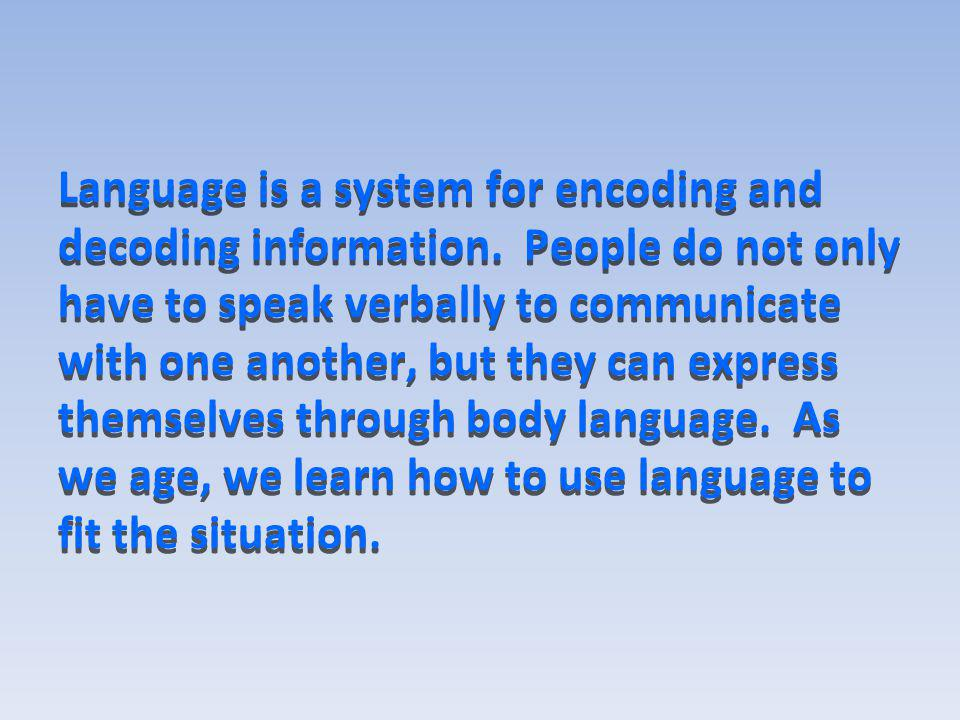 Language is a system for encoding and decoding information
