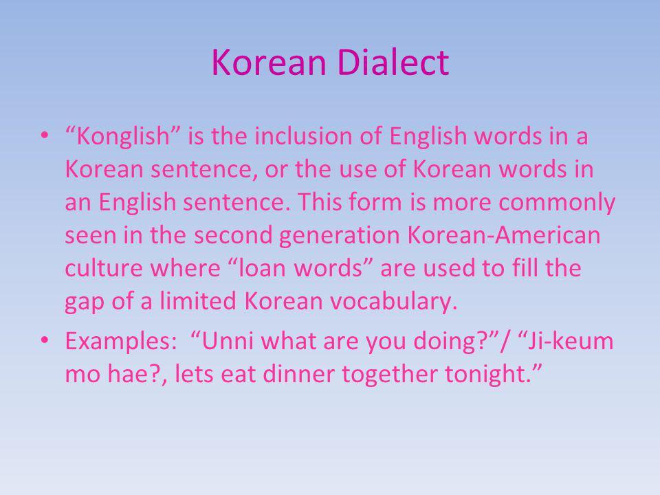 Korean Dialect