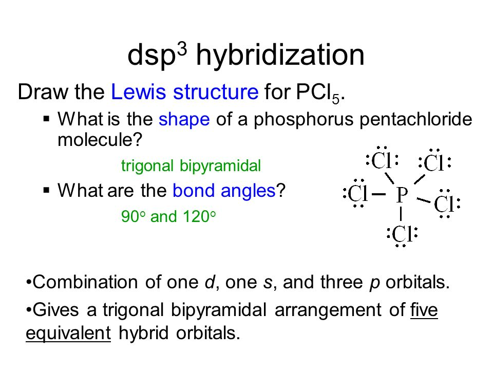 dsp3 hybridization Draw the Lewis structure for PCl5.