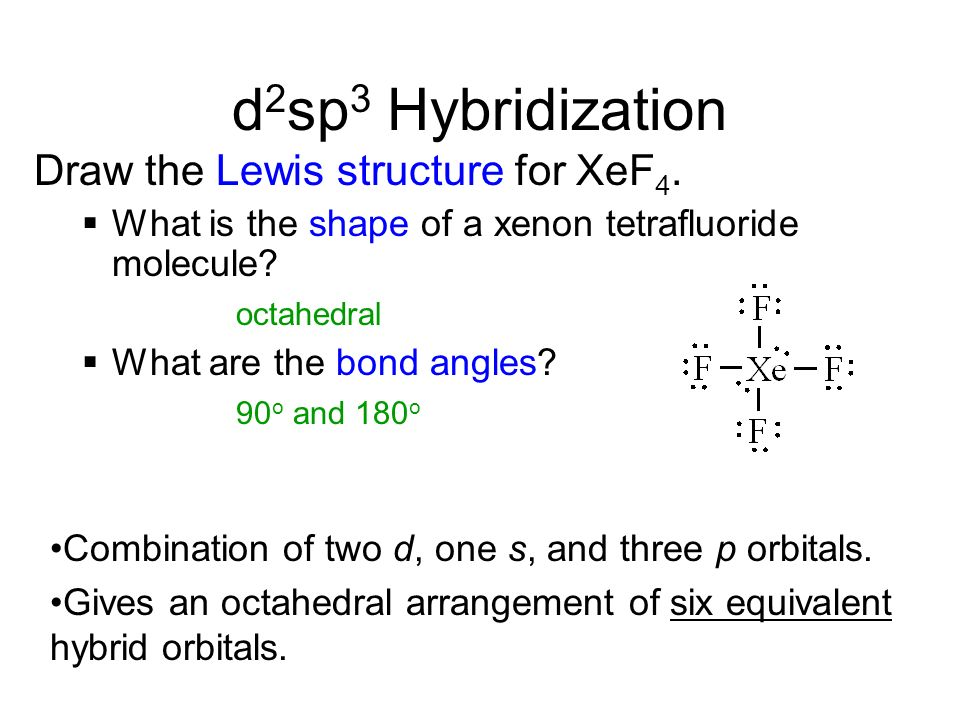 d2sp3 Hybridization Draw the Lewis structure for XeF4.