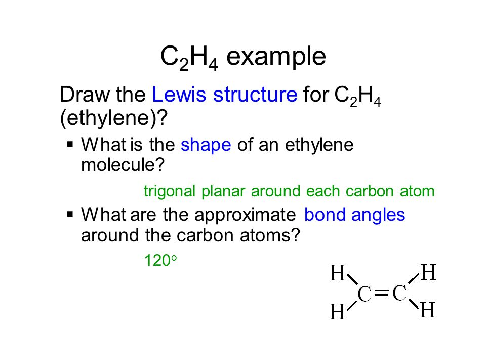 C2H4 example Draw the Lewis structure for C2H4 (ethylene)