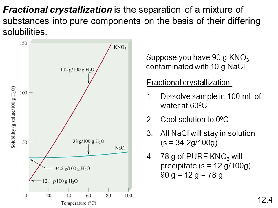 Fractional crystallization is the separation of a mixture of substances into pure components on the basis of their differing solubilities.