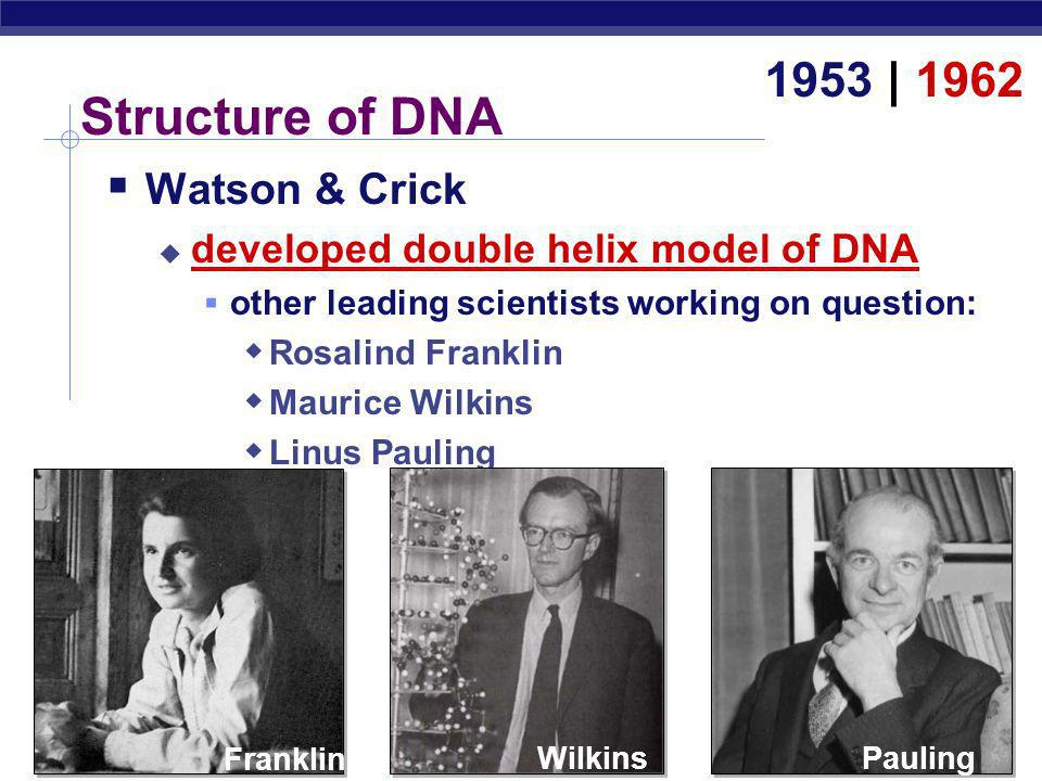Structure of DNA 1953 | 1962 Watson & Crick