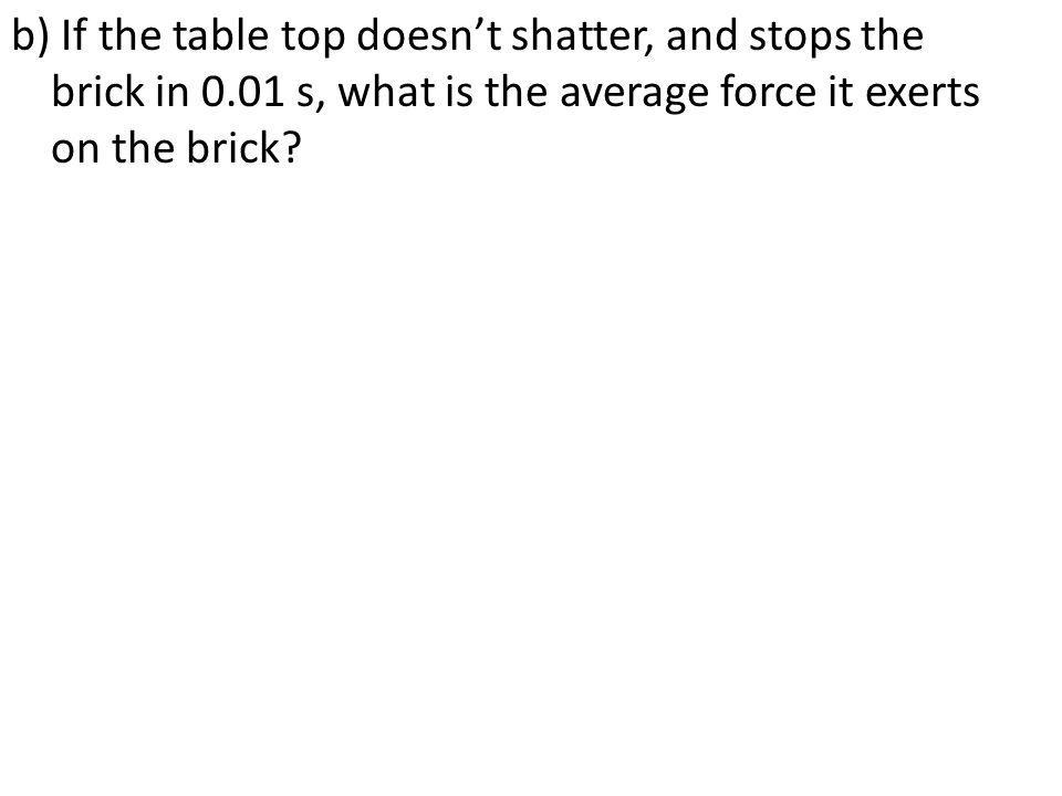 b) If the table top doesn't shatter, and stops the brick in 0