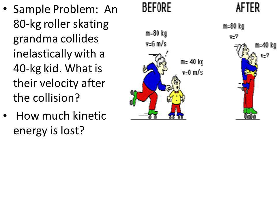 Sample Problem: An 80-kg roller skating grandma collides inelastically with a 40-kg kid. What is their velocity after the collision