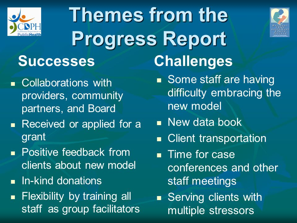 Themes from the Progress Report