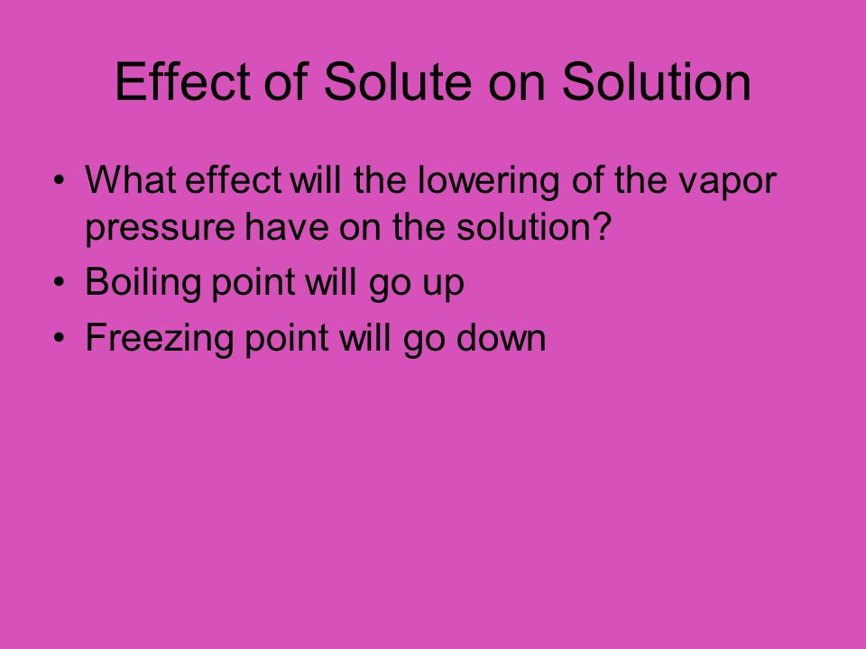 Effect of Solute on Solution