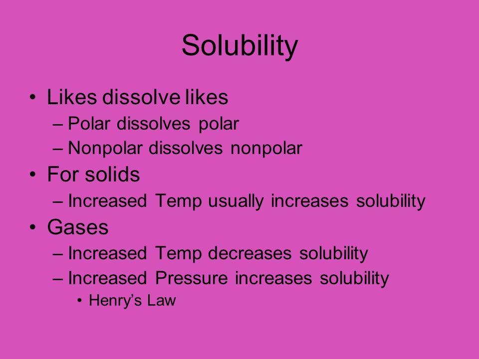 Solubility Likes dissolve likes For solids Gases Polar dissolves polar