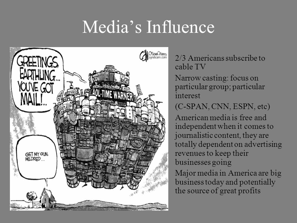 Media's Influence 2/3 Americans subscribe to cable TV