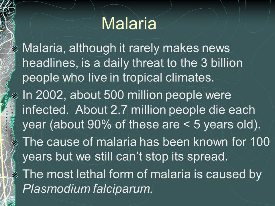 Malaria Malaria, although it rarely makes news headlines, is a daily threat to the 3 billion people who live in tropical climates.