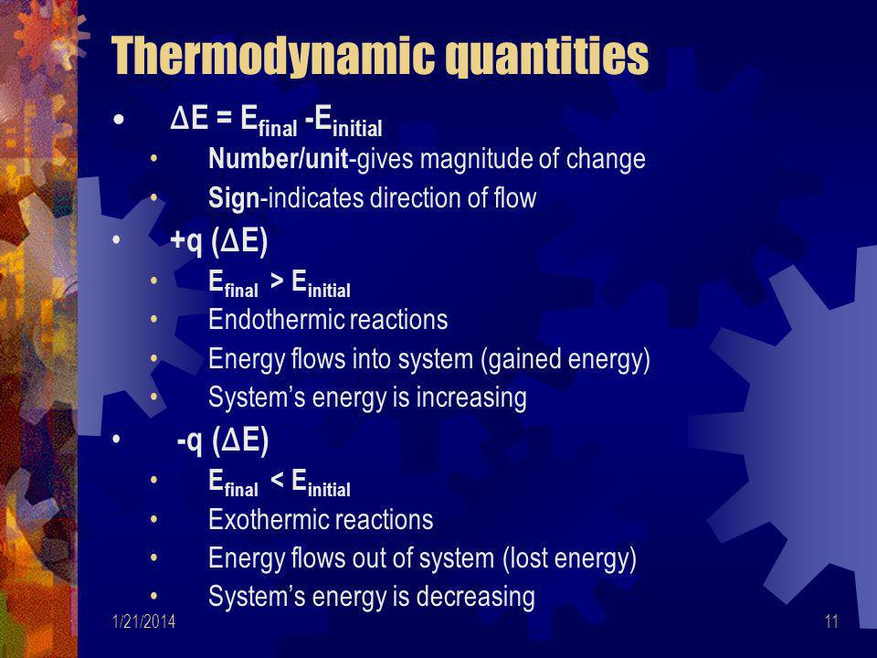 Thermodynamic quantities