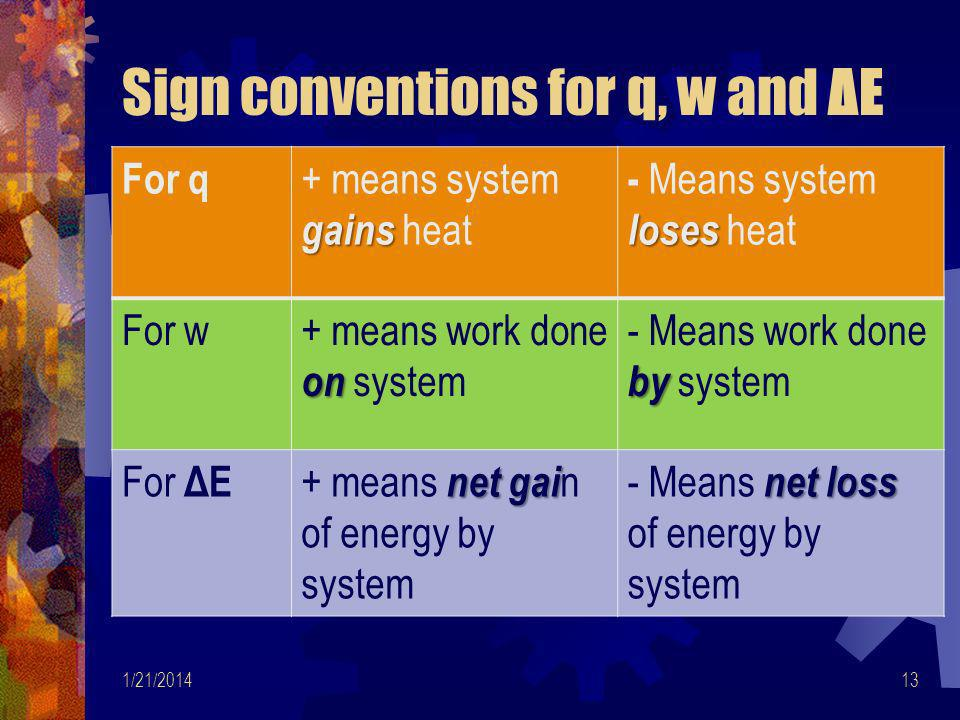 Sign conventions for q, w and ΔE