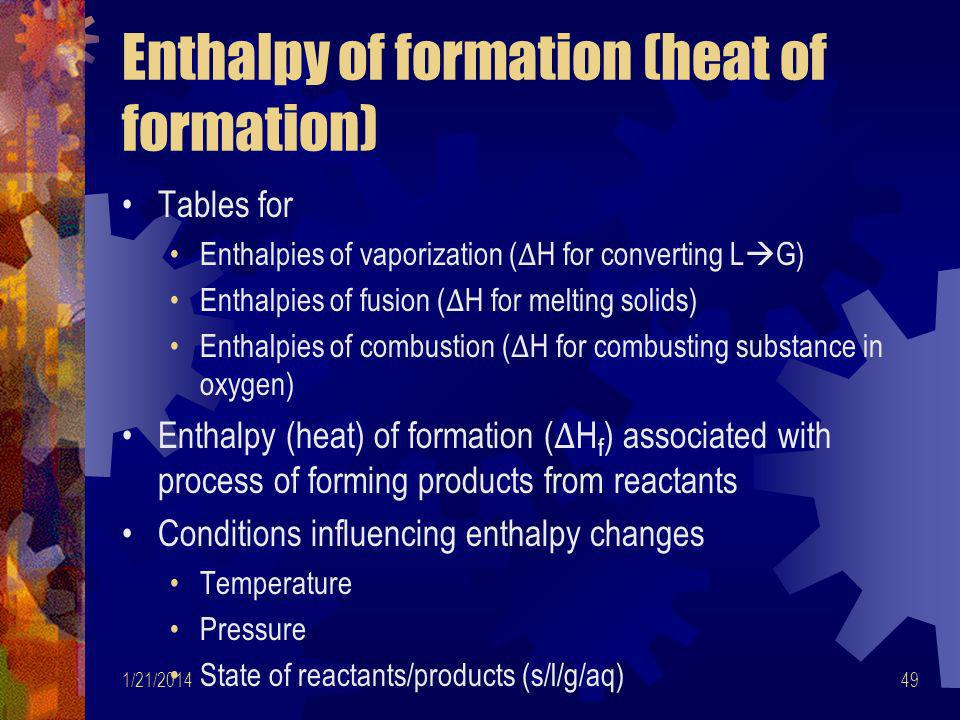 Enthalpy of formation (heat of formation)