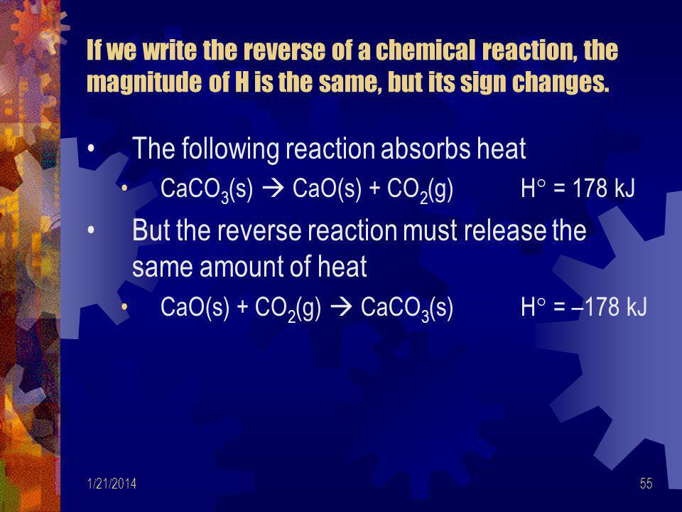 The following reaction absorbs heat