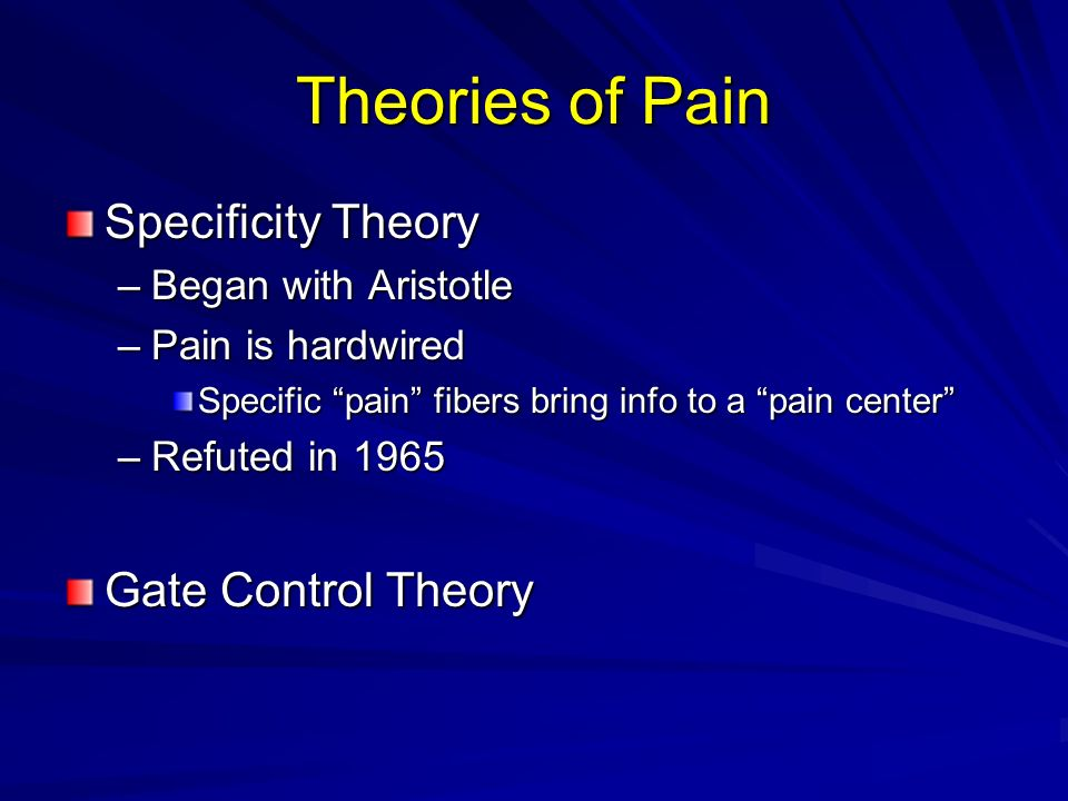 Theories of Pain Specificity Theory Gate Control Theory