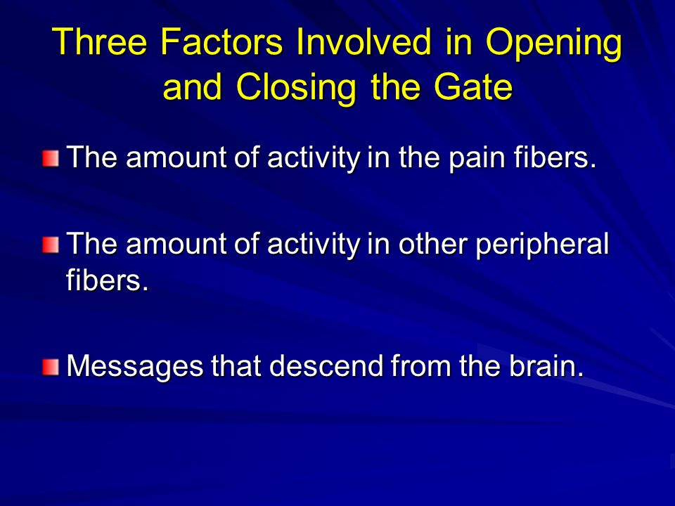 Three Factors Involved in Opening and Closing the Gate