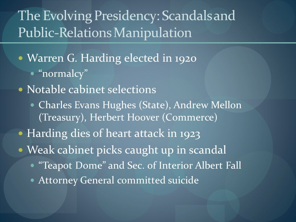 The Evolving Presidency: Scandals and Public-Relations Manipulation