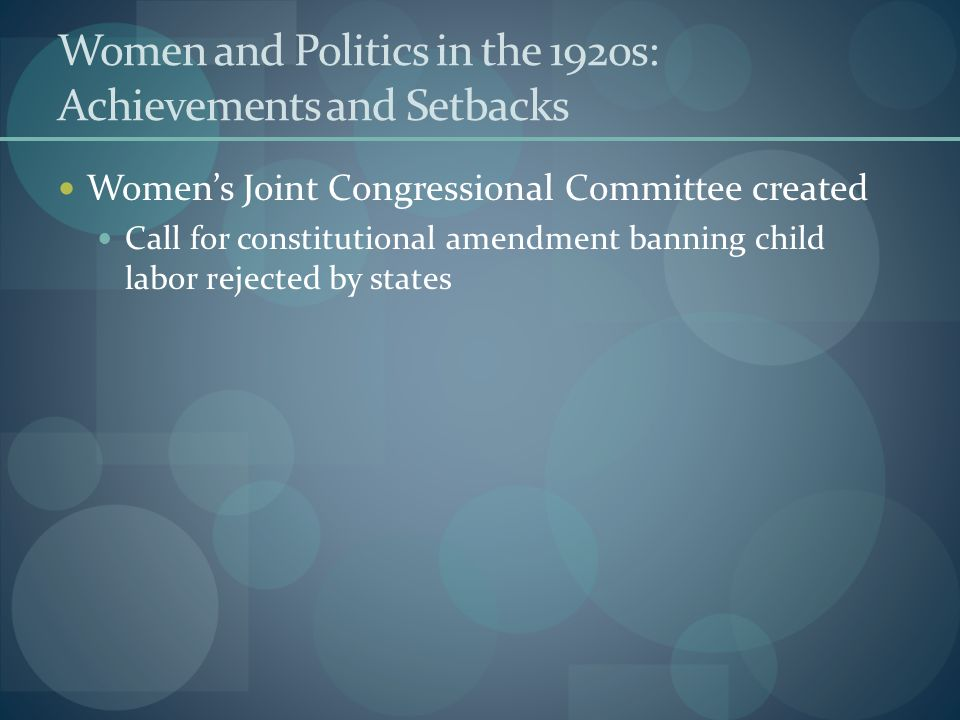 Women and Politics in the 1920s: Achievements and Setbacks