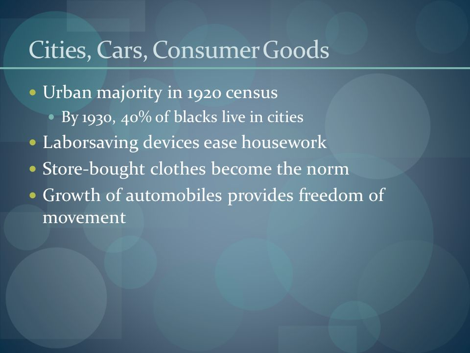 Cities, Cars, Consumer Goods