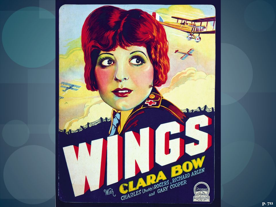 THE ROMANCE OF THE MOVIES The 1927 fi lm Wings, starring twenty-two year old Clara Bow, told of two World War I flying aces in love with the same young woman. It won the first Academy Award for best picture.