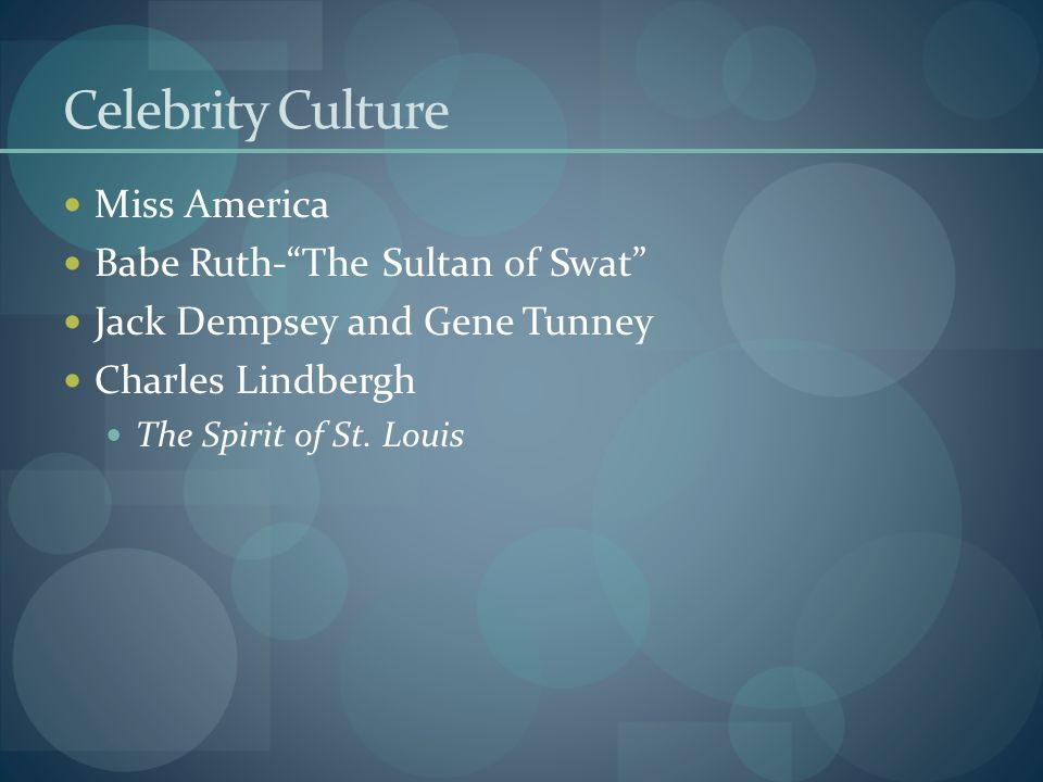 Celebrity Culture Miss America Babe Ruth- The Sultan of Swat