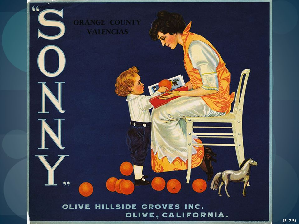FROM GROVE TO CONSUMER: THE CALIFORNIA CITRUS INDUSTRY IN THE 1920S The photo shows Mexican workers at a citrus grove in Southern California's Orange County. The idealized scene of a mother and child with Valencia oranges is from a crate label used by an Orange County citrus grower.