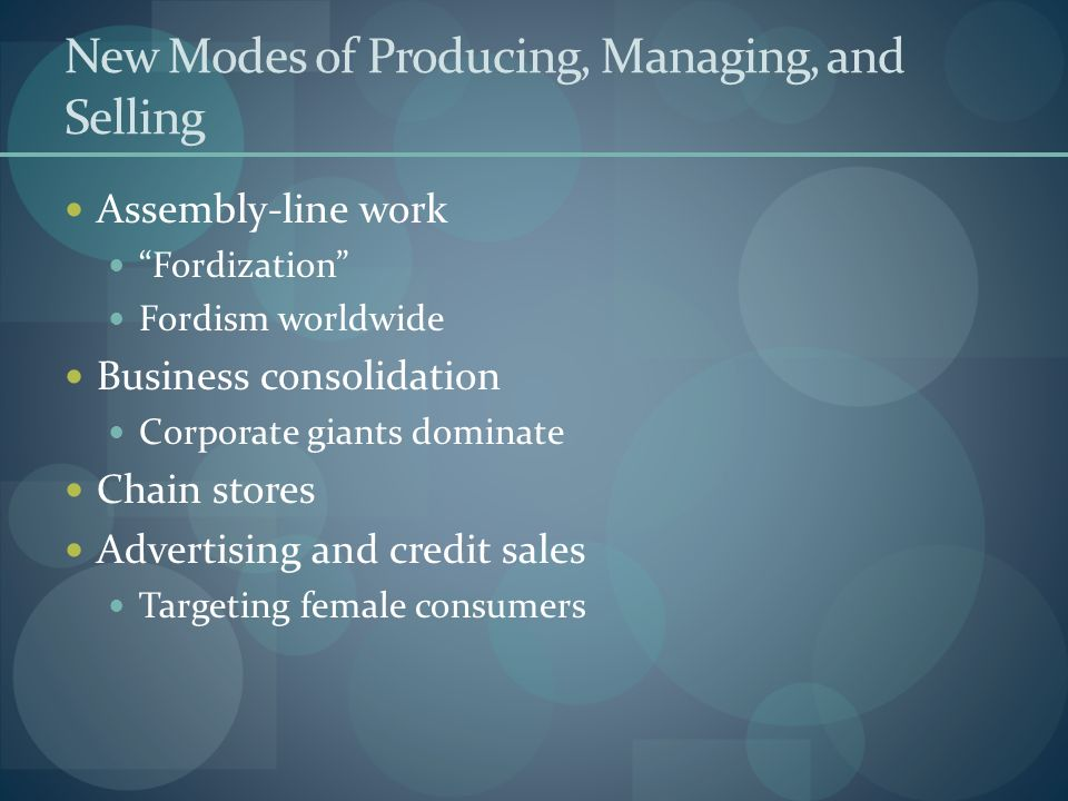 New Modes of Producing, Managing, and Selling