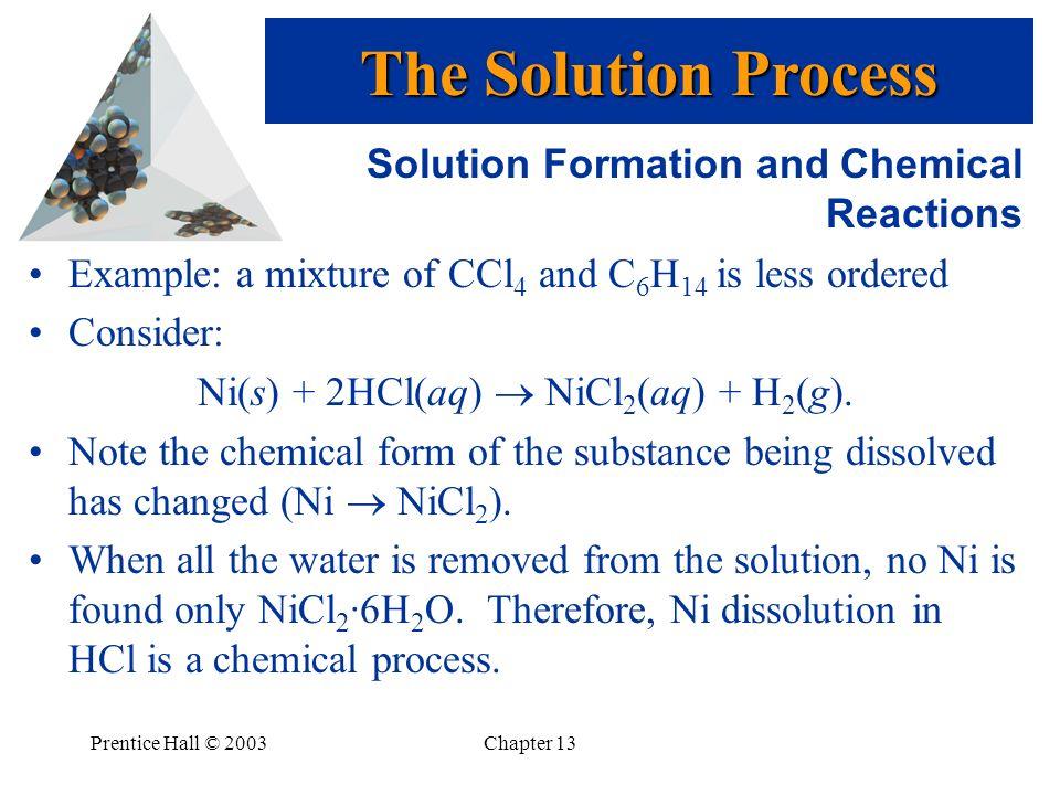 Ni(s) + 2HCl(aq)  NiCl2(aq) + H2(g).