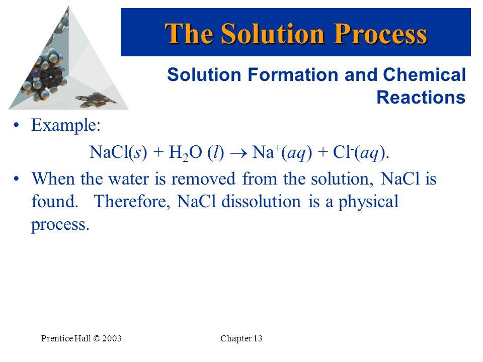 NaCl(s) + H2O (l)  Na+(aq) + Cl-(aq).