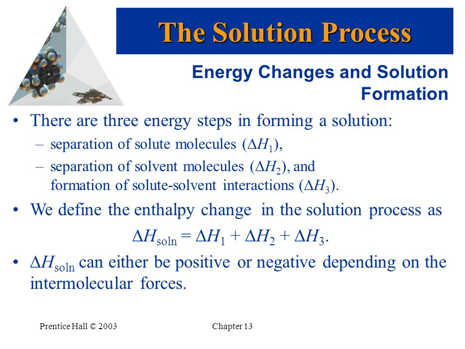 The Solution Process Energy Changes and Solution Formation
