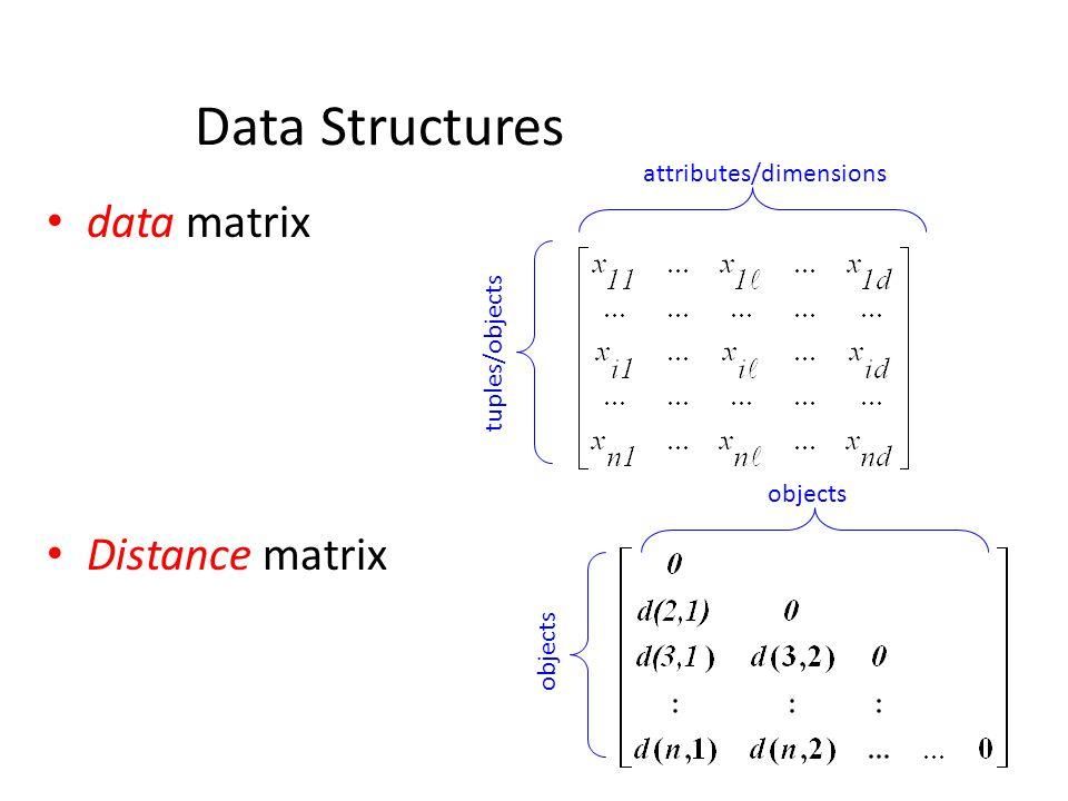 Data Structures data matrix Distance matrix attributes/dimensions