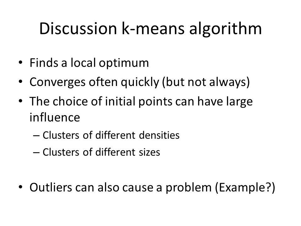 Discussion k-means algorithm